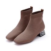 MICHELLE PARK 千金時尚 針織水鑽粗跟襪靴-可可