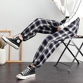 黑白格子褲女寬鬆束腳春秋季2020新款顯瘦直筒闊腿加厚休閒運動褲 韓語空間