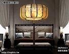 INPHIC-現代新中式客廳餐廳臥室手繪布藝吊燈古典酒店茶樓圓形仿羊皮燈具-紅鳥直徑50高20_S3081C
