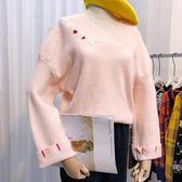 現貨-毛衣-甜美可愛純色V領緹花小刺繡反摺清新寬鬆針織毛衣Kiwi Shop奇異果【SZA0041】