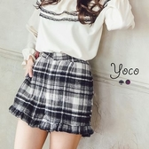 東京著衣【YOCO】荷葉拼接格紋毛呢短褲-S.M.L(6023959)