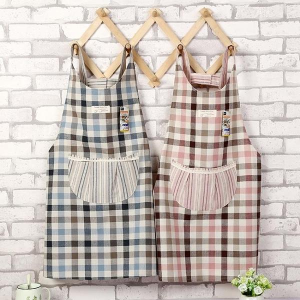 圍裙 日式棉麻布藝格子蕾絲圓兜廚房家用清潔圍裙 加厚韓版罩衣工作服