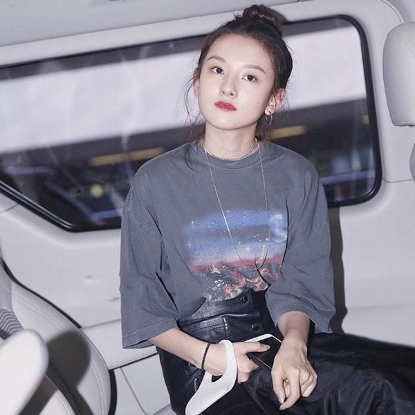 金智妮同款短袖T恤Jennie風明星lisa星空印花blackpink寬松上衣女