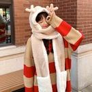 冬天女圍巾手套帽子三件一體連帽可愛保暖毛絨小熊百搭圍脖秋冬季 coco