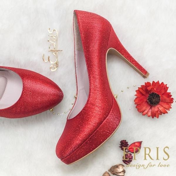 現貨 MIT小中大尺碼圓頭高跟鞋推薦 人魚公主 前高後高素面真皮高跟鞋 21-26 EPRIS艾佩絲-經典紅