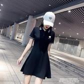 T恤裙小雛菊刺繡polo領夏季連身裙女收腰顯瘦小黑裙t恤裙休閒a字運動裙 萊俐亞