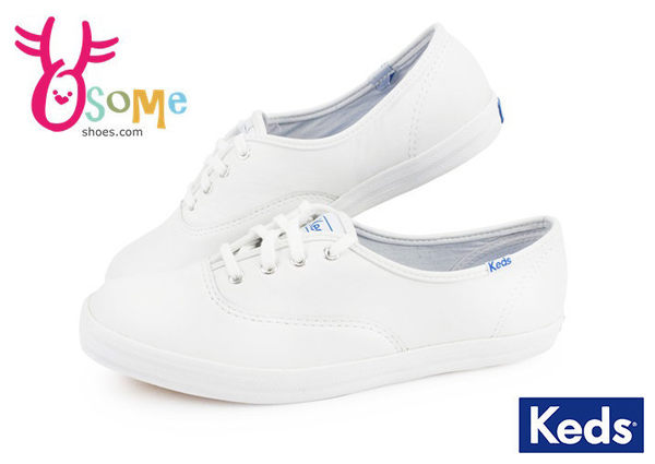 Keds 女鞋 帆布鞋 皮革 全白 Taylor代言 休閒鞋H9849#白色◆OSOME奧森童鞋/小朋友