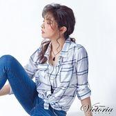 Victoria 輕薄格紋中長版長袖襯衫-女