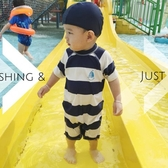韓國嬰幼兒童泳衣男寶泳褲條紋水手男童寶寶防曬連體防曬泳裝帶帽