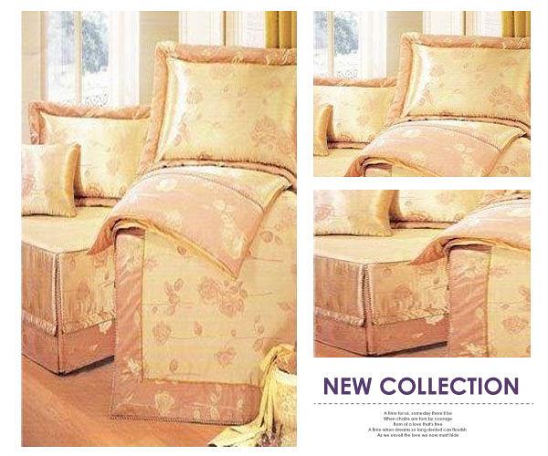 【貝淇小舖】☆羅曼蒂克【香榭玫瑰】緹花精梳棉標準雙人床罩五件組~金黃