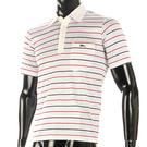 LONGCHAMP 經典純棉條紋短袖POLO衫(白/紅)179240-5