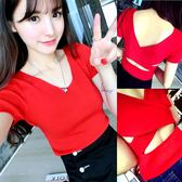 夏季韓版高腰露臍短款T恤女顯瘦短袖上衣交叉露背針織衫打底衫   mandyc衣間