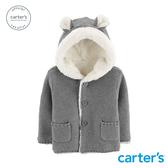【美國 carter s】深灰厚針織連帽造型外套-台灣總代理