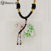 手工項鍊 琉璃項鍊 精油項鍊 中國繩項鍊 心型綠葉