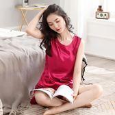 冰絲睡衣女夏季性感絲綢無袖兩件套裝薄款春秋短袖寬鬆家居服韓版  Cocoa