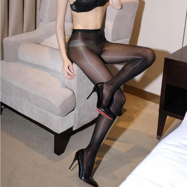 三代油亮超薄一線襠連褲絲襪油光性感神褲不開檔透視腳尖透明女