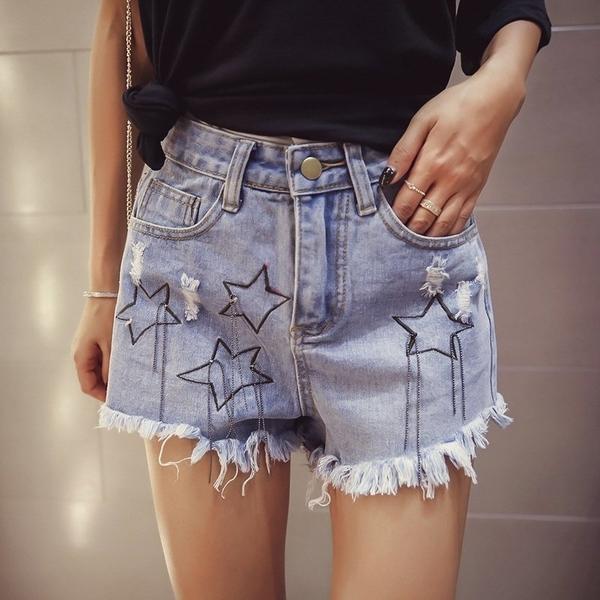 FINDSENSE G5 韓國時尚 夏裝 流蘇 高腰 牛仔短褲 星星 熱褲