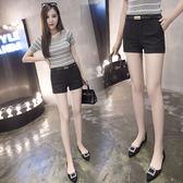 正韓黑色西裝短褲女薄款顯瘦大碼休閒褲百搭學生熱褲   魔法鞋櫃
