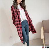 《EA2645-》高含棉格紋寬鬆長版襯衫/外套 OB嚴選
