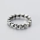 925純銀 個性復古 五角星星 C型可調整戒指 防抗過敏 不退色