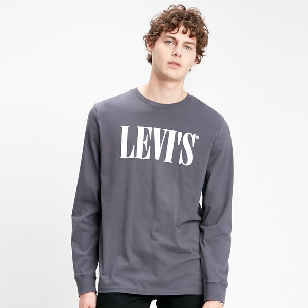 Levis 男款 長袖T恤 / 寬鬆休閒版型 / 歐系Serif Logo