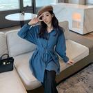 VK精品服飾 港風寬鬆休閒襯衫收腰顯瘦港味復古單品外套