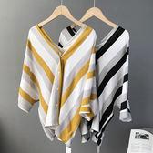 V領條紋露背上衣襯衫 中大尺碼【82-12-81586-18-8】ibella 艾貝拉
