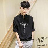 短袖bf韓版t恤寬鬆中袖潮流七分袖襯衫學生個性 俏腳丫