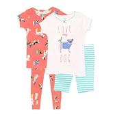 【北投之家】女寶寶睡衣套裝四件組 短袖上衣+短褲+睡褲 粉狗狗 | Carter s卡特童裝 (嬰幼兒)