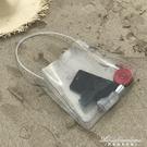 ins韓國東大門chic包包簡約百搭透明包PVC手提包側背包沙灘果凍包 黛尼時尚精品