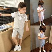 兒童小西裝套裝男童三件套韓版西服寶寶夏季小童英倫婚禮花童禮服 滿天星