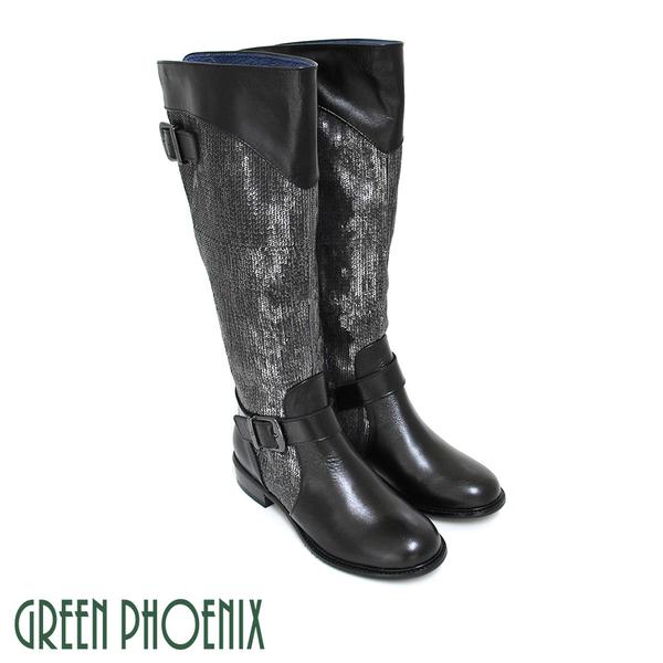 U28-25506女款國際精品繞踝皮飾扣亮片拼接義大利臘皮低跟長靴【GREEN PHOENIX】BIS-VITAL