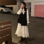 秋裝新款超仙的復古法式洋氣蝴蝶結中長款荷葉長袖連身裙女裝 喵可可