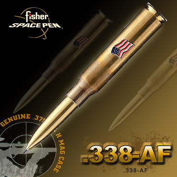 Fisher Cartridge Space Pen With American Flag子彈造型太空筆#338-AF黃銅色【AH02136】