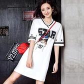 卡通印花洋裝女夏2020韓版新V領純棉寬鬆顯瘦中長款t恤裙網紅款【快速出貨】