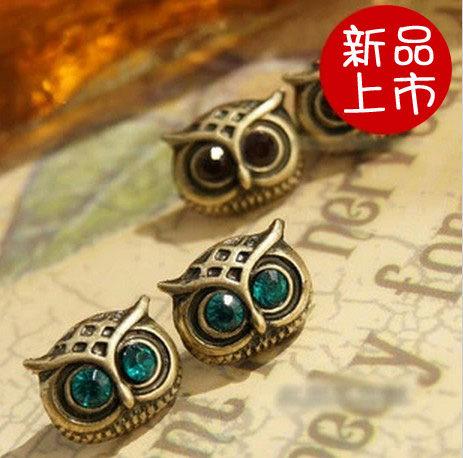 ►歐美復古風飾品 鑲鑽可愛貓頭鷹耳釘 耳飾 耳環【B1010】