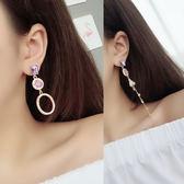 不對稱水晶流蘇耳環氣質女耳飾品耳墜簡約個性長款吊墜耳釘 一次元