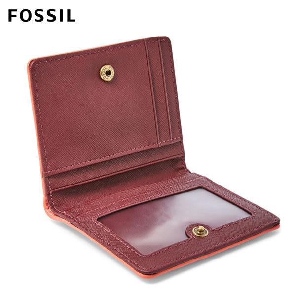 FOSSIL Emma 珊瑚粉真皮RFID迷你短夾 SL7150686