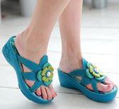環保PU底*復刻花樣/夾腳拖鞋--THE ONE 氣墊鞋/拖鞋(全牛皮)-A08902 藍