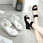 厚底涼鞋 2021新款夏季涼鞋女鬆糕跟厚底坡跟女式羅馬涼鞋涼鞋 17育心