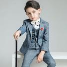 兒童西裝套裝男童小西服花童禮服男孩鋼琴演出服中大童英倫帥氣冬 快速出貨