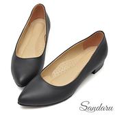 訂製鞋 OL簡約軟底低跟尖頭鞋-黑