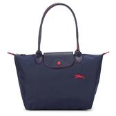 Longchamp 2605 LE PLIAGE 奔馬刺繡長提把小型尼龍摺疊水餃包(海軍藍)480208-556