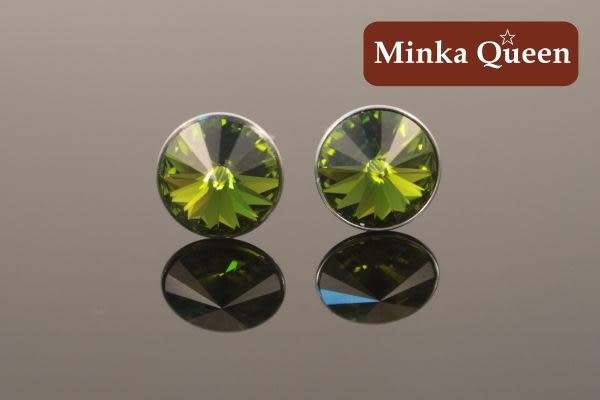 德國鈦鋼墨綠色慧心石抗敏耳環(一對)(9 mm)