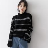 秋冬新款半高領毛衣女寬鬆韓版慵懶風加厚條紋針織打底衫 韓小姐