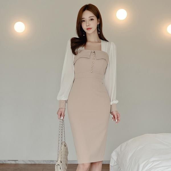 VK精品服飾 韓系顯瘦拼接收腰雪紡拼接優雅氣質長袖洋裝