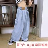 女童牛仔褲2020夏季新款港風高腰垂感直筒寬管褲寬鬆老爹褲潮