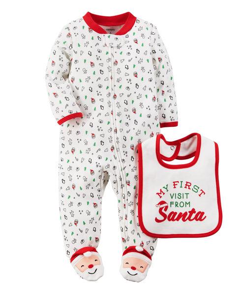 【美國Carter's】套裝二件組 - 歡樂耶誕純棉連身衣+圍兜 119G100