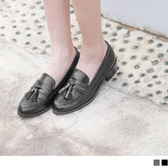 《SD0222》台灣製造.格紋流蘇綴飾低跟樂福鞋 OrangeBear