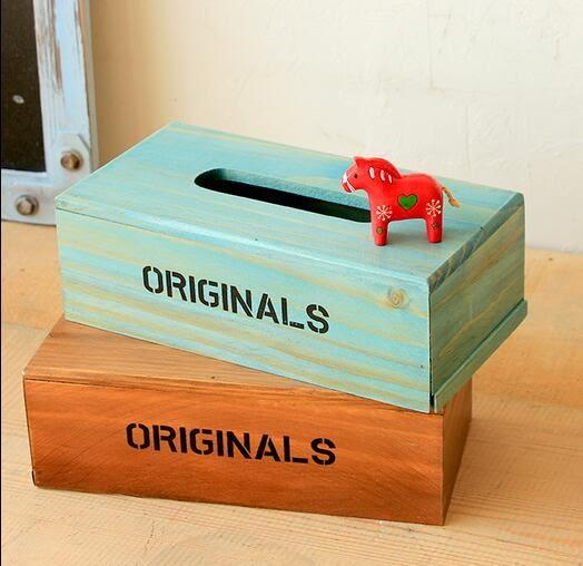 美式鄉村做舊實木紙巾盒家居收納盒車載咖啡廳服裝店鋪抽紙盒擺件